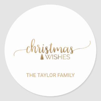 Simple Gold Calligraphy Christmas Classic Round Sticker