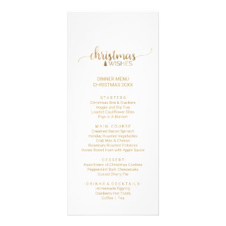 Simple Gold Calligraphy Christmas Menu Card