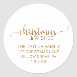 Simple Gold Calligraphy Christmas Return Address Classic Round Sticker