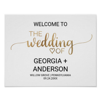 Simple Gold Calligraphy Wedding Welcome Poster