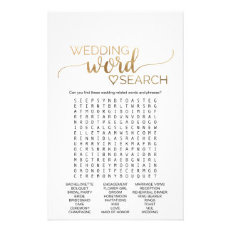 Simple Gold Calligraphy Wedding Word Search Game Flyer