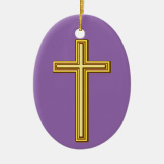 Simple Gold Christian Cross Ceramic Oval Ornament