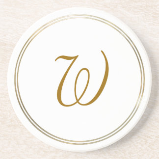 Simple Gold Circles and Monogram Template Beverage Coaster