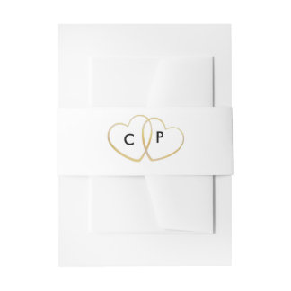 Simple Gold Elegant Belly Band for Wedding Invitation Belly Band