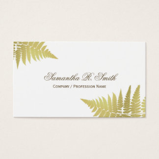 Simple Gold Fern Elegant Woodland Design Business Card