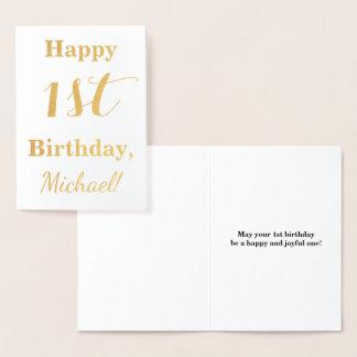 Simple Gold Foil 1st Birthday + Custom Name Foil Card