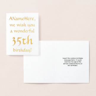 Simple Gold Foil 35th Birthday Greeting Card