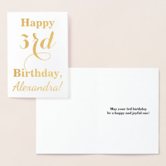 Simple Gold Foil 3rd Birthday + Custom Name Foil Card