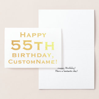 Simple Gold Foil 55th Birthday Greeting Card