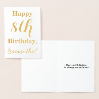 Simple Gold Foil 8th Birthday + Custom Name Foil Card