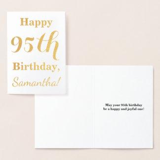 Simple Gold Foil 95th Birthday + Custom Name Foil Card