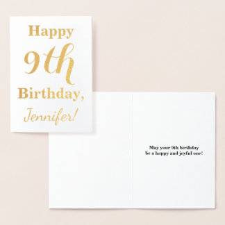 Simple Gold Foil 9th Birthday + Custom Name Foil Card