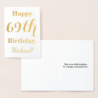 """Simple Gold Foil """"HAPPY 69th BIRTHDAY"""" + Name Foil Card"""