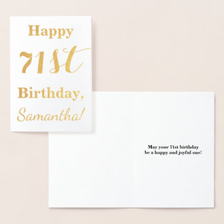 """Simple Gold Foil """"HAPPY 71st BIRTHDAY"""" + Name Foil Card"""