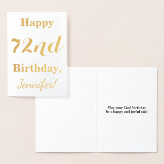 """Simple Gold Foil """"HAPPY 72nd BIRTHDAY"""" + Name Foil Card"""