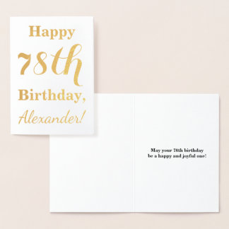 "Simple Gold Foil ""HAPPY 78th BIRTHDAY"" + Name Foil Card"