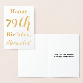 """Simple Gold Foil """"HAPPY 79th BIRTHDAY"""" + Name Foil Card"""