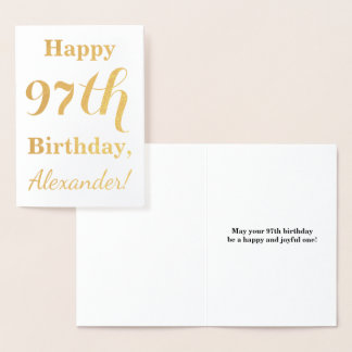 """Simple Gold Foil """"HAPPY 97th BIRTHDAY"""" + Name Foil Card"""