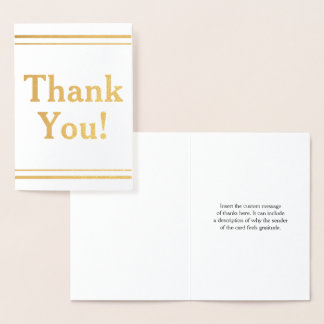 "Simple Gold Foil ""Thank You!"" Card"