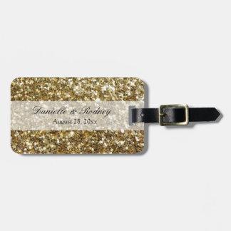Simple Gold Glitter Printed Wedding Luggage Tag