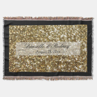 Simple Gold Glitter Printed Wedding Throw