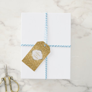 Simple Gold Glitter With Sparks Gift Tags