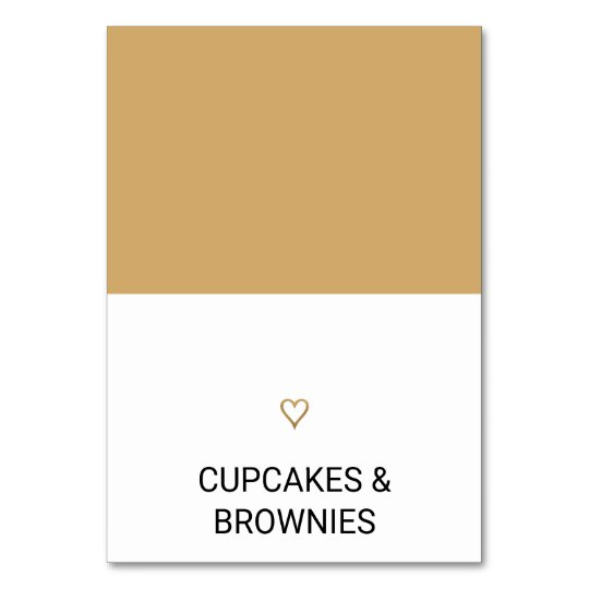 Simple Gold Heart Food Tent Card