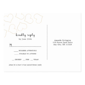 Simple Gold Hearts wedding RSVP reply card