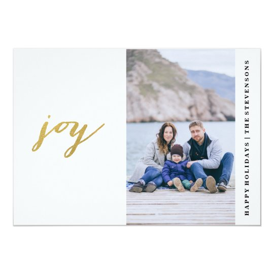 Simple Gold Joy Holiday Card with Photo