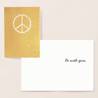 """Simple Gold """"Peace be with you"""" Christmas Card"""