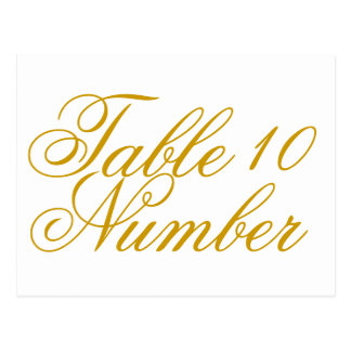 Simple Gold Print Table Number Postcard
