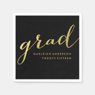Simple Gold Script in Black | Graduation Napkins Paper Napkins