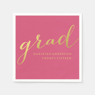 Simple Gold Script in Pink | Graduation Napkins Disposable Napkins