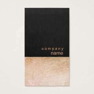 Simple Gold Snake Skin Pattern Black Linen Look Business Card