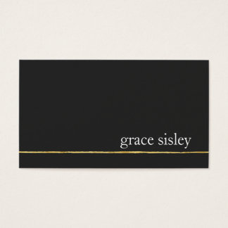 Simple Gold Striped Modern Stylish Black Business Card