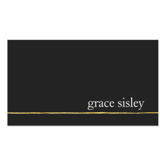 Simple Gold Striped Modern Stylish Black Pack Of Standard Business Cards
