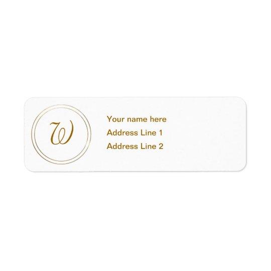 Simple Gold Stripes and Monogram Template Return Address Label