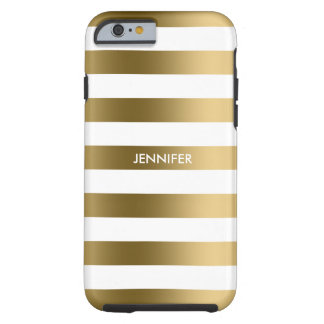Simple Gold Stripes On White Background Tough iPhone 6 Case