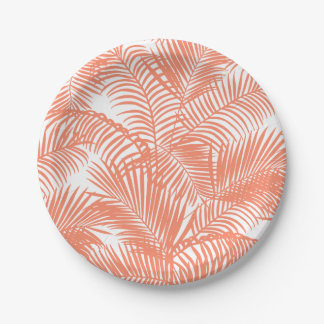 Simple gold tropical coral chic palm tree floral paper plate