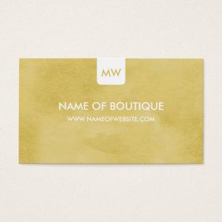 Simple Goldenrod Boutique Monogram Social Media Business Card