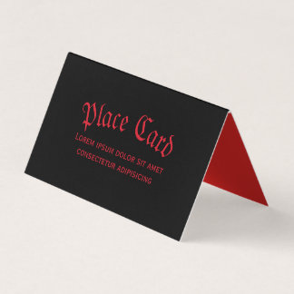 Simple Gothic Red & Black Place Card