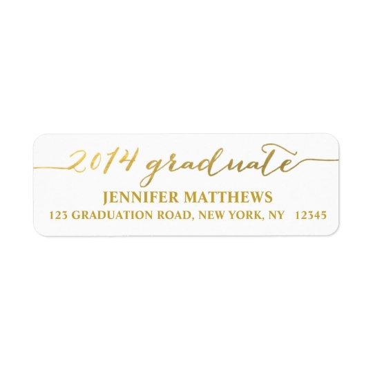 Simple Grad Gold Graduation Address Label