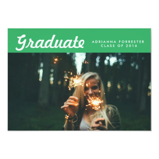 "Simple Graduate Photo Graduation Party Green 5"" X 7"" Invitation Card"