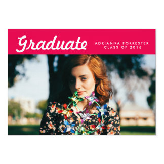 "Simple Graduate Photo Graduation Party Hot Pink 5"" X 7"" Invitation Card"