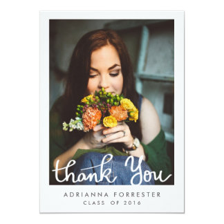 Simple Graduation Thank You Photo Card
