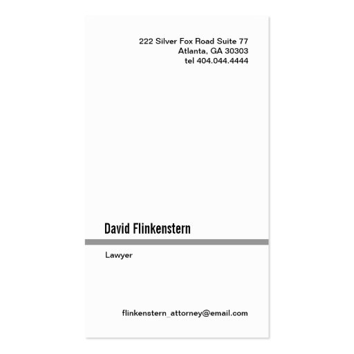 Simple Gray Line Vertical Business Card