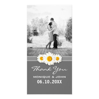 Simple Gray Spring Wedding Daisies Sweet Thank You Custom Photo Card