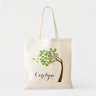 Simple Green Cherry Blossom Personalized Bag