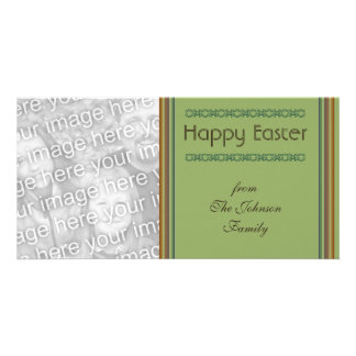 Simple green Happy Easter Photo Greeting Card