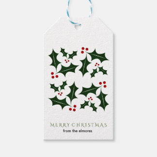 Simple Green Holly Personalized Pack Of Gift Tags